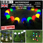 20m Black Waterproof Festoon String Lights Kit Wedding Outdoor Party DIY Lamp UK
