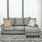 3 Seater L Shaped Corner Sofa Settee Fabric Armchair Couch Footstool Beige Grey