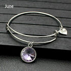Birthstone Charm Bracelet Bangle Birthday Jewellery Rhinestone Fashion Bracelets