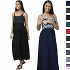 Happy Mama Women's Maternity Nursing Maxi Empire Waist Straps Long Dress 009p