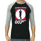 JAMES BOND shirt 007 logo cult movie poster 3/4 sleeve raglan t-shirt $22.9 USD on eBay