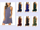 Fashion Women's Sleeveless Loose Plain Dresses Casual Short Dress with Pockets