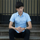 Mens Slim Fit Plain Button Shirts Blouse Tops Short Sleeve Office Work Casual