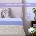Lavender Memory Foam Mattress 3/4 Inch Topper Ventilated Gel Dot Queen King Bed image