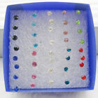 20 Pairs Women Earring Set Crystal Ear Stud Plastic Earrings 3mm-5mm Mix Color