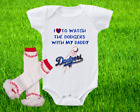 Los Angeles Dodgers Outfit Onesie And Ruffle Leggings Set Watching WIth Daddy on Ebay