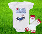 Los Angeles Dodgers Outfit Onesie And Leggings Set Watching WIth Mommy on Ebay