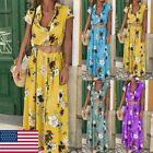 Plus Size Lady Long Sleeve Floral Boho Women Party Bodycon Maxi Dress Clothing