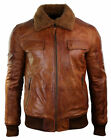 MENS B3 BOMBER TAN BROWN FUR COLLAR AVIATOR WINTER FASHION LEATHER JACKET for sale  KITCHENER