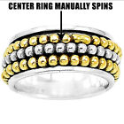 Two Tone Meditation Spinner 925 Sterling Silver Ring Jewelry Size 5-10 DGR1013