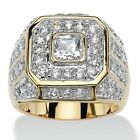 Luxury Woman 18K Gold Disc White Sapphire Engagement Wedding Ring Jewelry Gifts image