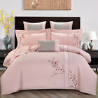 embroidered bedding set 4pcs 60S pure cotton duvet cover flat sheet high quality image