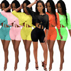 Women oblique shoulder solid color casual bodycon short jumpsuit pants set 2pc