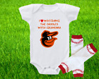 Baltimore Orioles Outfit Onesie And Leggings Set Watching With Grandma on Ebay