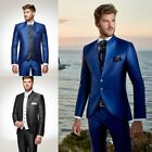 Men's Suit Royal Blue Satin High Neck Slim Fit Wedding Suit Boyfriends Tailored