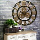 Home Decor Vintage Industrial Retro Roman Numeral Wood Gear Wall Clock Steampunk