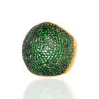 5.39ct Tsavorite 925 Sterling Silver 18 kt Yellow Gold Dome Ring Fashion Jewelry