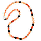 Carved Onyx Gemstone Diamond Sterling Silver Beaded Necklace Women Gift Jewelry