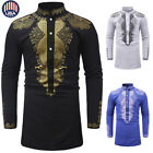 Summer Men's Luxury African Print Long Sleeve Dashiki Shirt Top Special Blouse
