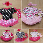 3Pcs Newborn Baby Girls Mini Romper&Headband&Shoes Summer Outfits Clothes GC15