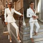 Causal Women's Suits White Business Work Open Button Cuff Video Party Custom New