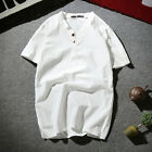 Men Retro Cotton Linen Tees Short Sleeve Shirt V-Neck Chinese Style T-shirt Tops