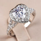 Luxury Heart White Sapphire 925 Silver Promise Ring Wedding Jewelry Gift Sz 6 10