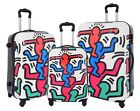 NEW Hard Shell Suitcases Stack Up Man Print 4 Wheel Luggage TSA Lock Travel Bags