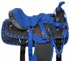 """USED 16"""" BLUE SILVER SHOW WESTERN SYNTHETIC LIGHT WEIGHT HORSE SADDLE TACK SET"""