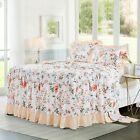 HIG 3 Piece Print Ruffle Skirt Bedspread Set 30 inches Drop Twin Queen King Size image