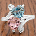 Simulated Morganite & Aquamarine 925 Silver Ring Jewelry Size 6-9 DGR1071_K