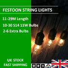 11-29m S14 Kits Black Cable Festoon String Lights Wedding Party Xmas Porch Decor