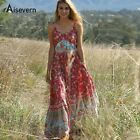 Raisevern Casual Boho Dress Women 2019 Summer Spaghetti Strap Beach Dress Sexy