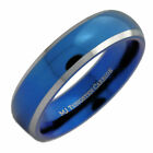 6mm Blue Plated Inside and Outside Tungsten Carbide Wedding Band Ring
