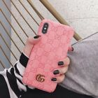 Luxury Brown GG style embossed leather phone case for Apple iphone11 Pro Max XR