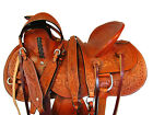 PRO WESTERN ROPING RANCH HORSE SADDLE 15 16 17 PLEASURE TOOLED LEATHER TRAIL SET