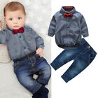 US Baby Boy Formal*Party*Wedding*2pcs Bow Romper Long Pants Suit Outfit Clothes