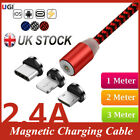 UK 2.4A Quick Charger Magnetic Cable For iPhone XS XR X 7 6 Magnet Type-C Phone