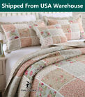 Country Floral Patchwork Quilt Throw Blanket Coverlet Bedspread Set Queen image