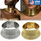 Hot African Jewelry Vintage Necklace Metallic Coil Adjustable Choker Maxi Collar image