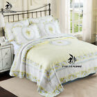 Vintage Yellow Hand Embroidered Cotton Quilt Coverlet Bedspread Set QUEEN image