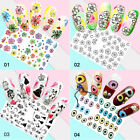 Nail Water Decals Colorful Flower Patterns Nail Art Transfer Stickers Decoration