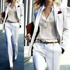 White Women Ladies Office Business Tuxedos Formal Work Wear Suits Jacket +Pants