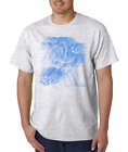 USA Made Bayside T-shirt Sports Hockey Player Motion Shadow Blue