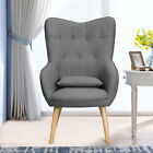 Occasional Winged Fabric Armchair Accent Button High Back Chair Stool Footrest