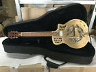 Aiersi brand Cutway Bell Brass Body Tricone Blue slide Electric Resonator Guitar for sale