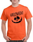 Halloween T-shirt Happy Pumpkin face jack-o-lantern Orange Gray Gildan Cotton