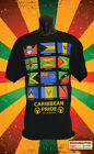 CARIBBEAN PRIDE FLAG'S OF THE CARIBBEAN SINGLE SIDED BLACK T-SHIRT ROOTS REGGAE