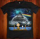 Peanuts Charlie Brown & Snoopy Pink Floyd Dark Side Moon Black Shirt image