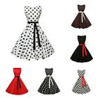 Women's Classy Vintage Rockabilly Swing Dress Ribbon Bow Sleeveless Party Dress